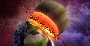 Curiosidades, Entretenimento, Jornalismo, Comunicação, Marketing, Publicidade e Propaganda, Mídia Interessante colisão-com-a-terra-2-planetas-theia-375x195 Space Today: Acompanhe o lançamento do satélite ATLAS V Universo  ATLAS V